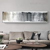 Grey Color Abstract Panoramic Painting Print for Lounge Room Decor