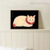 Pale Cat Realistic Animal Portrait Print for Lounge Room Decor