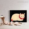 Pale Cat Realistic Animal Picture Canvas Print for Living Room Ornament