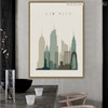 New York Abstract Cityscape Painting Canvas Print for Dining Room Ornament