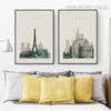 Paris London Abstract Cityscape Painting Canvas Print for Bedroom Ornament