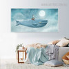 Blue Whale Sea Creature Abstract Watercolor Painting Print for Living Room Decor
