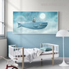 Blue Whale Sea Creature Abstract Watercolor Wall Art Decor