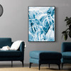 Cyan Abstract Modern Painting Canvas Print for Living Room Wall Adornment