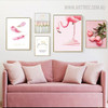 Flamingo Pink World Quotes Floral Bird Modern Painting Canvas Print for Home Wall Decor