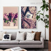Posy Floral Modern Figure Portrait Print for Living Room Wall Getup