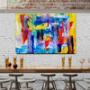 Hue Lines Abstract Handmade Canvas Artwork for Dining Room Wall Outfit