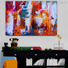 Motley Abstract Oil Portmanteau on Canvas for Study Room Wall Adornment