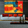 Multicolor Portraiture Abstract Acrylic Painting for Home Wall Drape