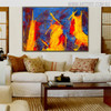 Hued Portraiture Abstract Canvas Artwork for Living Room Wall Tracery