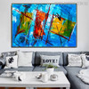 Abstract Shapes Oil Likeness for Living Room Wall Embellishment