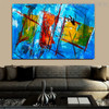 Abstract Shapes Oil Likeness for Room Wall Drape