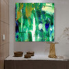 Green Shade Abstract Handpainted Canvas for Wall Drape