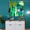 Green Shade Abstract Handpainted Canvas for Living Room Wall Ornament
