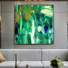 Green Shade Abstract Handpainted Canvas for Room Wall Outfit