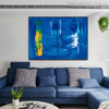 Bluish Abstract Texture Handmade Oil Portraiture for Room Wall Tracery
