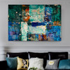 Bluish Abstract Texture Handmade Oil Portmanteau for Living Room Wall Disposition