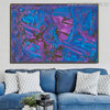 Purplish Abstract Texture Canvas Artwork for Living Room Wall Drape