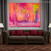 Pinkish Shade Abstract Texture Handmade Canvas Portraiture for Interior Wall Finery