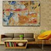 Yellowish Abstract Modern Texture Acrylic Painting for Interior Wall Disposition