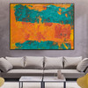 Teal Abstract Modern Texture Handpainted Canvas for Living Room Wall Drape