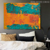Teal Abstract Modern Texture Handpainted Canvas for Bedroom Wall Trimming