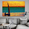 Sailboat Modern Seascape Canvas Smudge for Living Room Wall Outfit