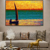 Sailboat Modern Seascape Canvas Smudge for Study Room Wall Decor