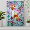 Creative Fox Animal Modern Abstract Handmade Canvas Art for Interior Wall Adornment