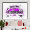 Purple Antique Car Abstract Handmade Canvas Art for Bedroom Wall Disposition