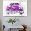 Purple Antique Car Abstract Handmade Canvas Art for Dining Room Wall Decoration
