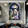 Street Abstract Cityscape Modern Handmade Oil Portrayal for Lounge Room Getup