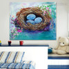 Nest Floral Modern Oil Tableau on Canvas for Interior Wall Equipment