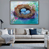 Nest Floral Modern Oil Tableau on Canvas for Living Wall Ornament