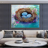 Nest Floral Modern Oil Tableau on Canvas for Lounge Room Wall Decoration