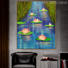 Lotus Floral Modern Handmade Oil Likeness for Interior Wall Adornment