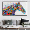 Horse Face Abstract Animal Modern Handmade Canvas Artwork for Living Room Wall Garnish