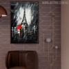 Eiffel Tower Night Modern Cityscape Texture Knife Effigy for Living Room Wall Decor