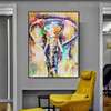 Elephant Abstract Animal Modern Handmade Canvas Portraiture for Lounge Room Wall Ornamentation