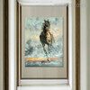 Wild Running Horse Hand Painted Modern Texture Knife Oil Smudge for Animal Decoration on Wall