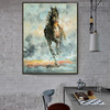 Wild Running Horse Animal Hand Painted Modern Texture Knife Oil Smudge for Dining Room Wall Disposition