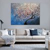 Cherry Blossom Tree Texture Handmade Oil Resemblance on Canvas for Floral Decoration on Wall