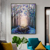 Beautiful Forest Modern Floral Landscape Texture Oil Painting on Canvas for Room Wall Disposition
