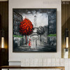 Paris Cityscape Heavy Texture Handmade Oil Resemblance on Canvas for Living Room Wall Decor