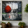 Paris Cityscape Heavy Texture Handmade Oil Resemblance on Canvas for Room Wall Disposition