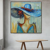 Blue Hat Abstract Modern Heavy Texture Acrylic Figure Painting for Wall Garnish