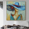 Blue Hat Abstract Modern Heavy Texture Acrylic Figure Painting for Diy Wall Decor
