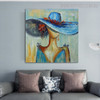 Blue Hat Abstract Modern Heavy Texture Acrylic Figure Painting for Living Room Wall Flourish