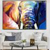 Hued Elephant Framed Handmade Animal Painting for Living Room Wall Drape