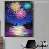 Flood Modern Nature Riverscape Texture Oil Painting for Living Room Wall Finery